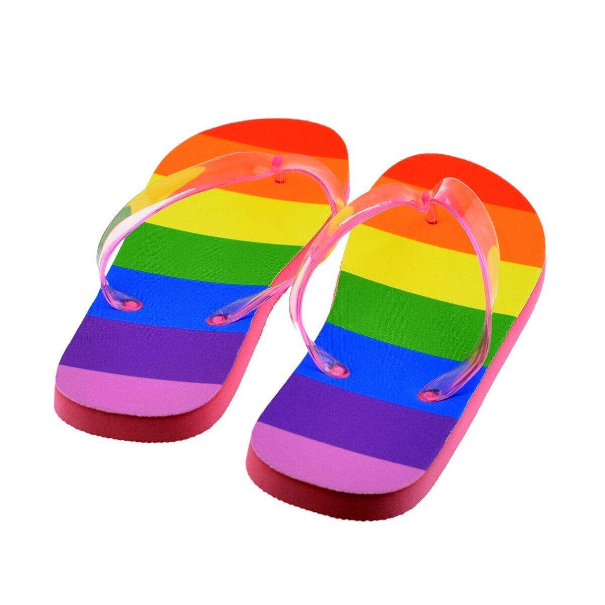 LADIES MEDIUM Gay Rainbow Flip Flops PRESENT SANDALS BEACH SHOES THONGS PRESENT Flops GIFT 9bc7f7