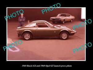OLD-LARGE-HISTORIC-PHOTO-OF-1969-BUICK-GS-amp-OPEL-GT-LAUNCH-PRESS-PHOTO