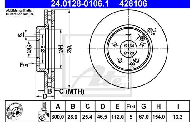ATE Juego de 2 discos freno Antes 300mm ventilado para MERCEDES 24.0128-0106.1