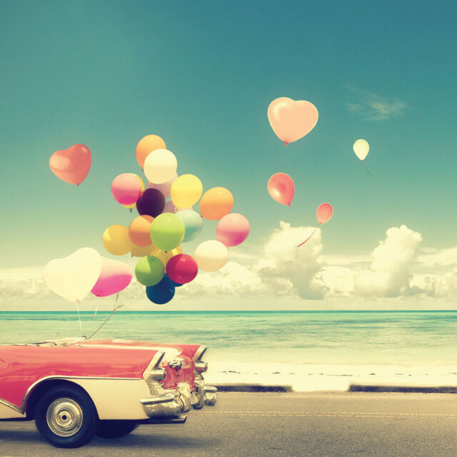Birthday Card Perfect for Husband Wife Partner - Car Balloons at Beach Freepost!
