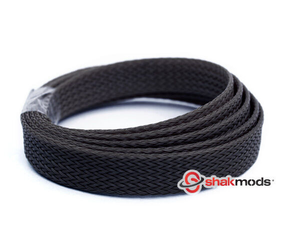 5 meters Shakmods Flat 10 mm High Density Black Braided Expandable Sleeving UK