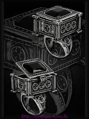 Giftring Sarcophagus Black Funeral Ring Viktorianisch Steampunk Gothic Vampir
