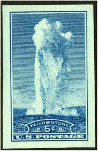 1935 5c Yellowstone, Imperforate Single Stamp issued wi