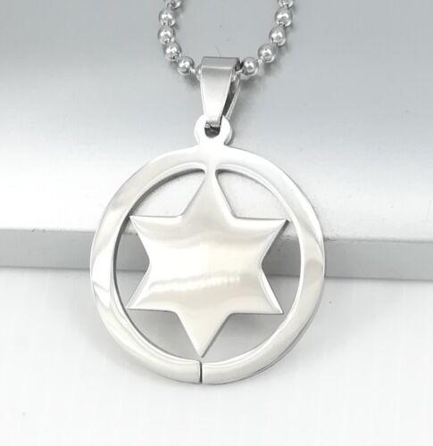 "Silver Texas Ranger Sheriff Star Western Cowboy Pendant 24/"" 60cm Chain Necklace"