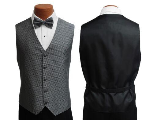 Men/'s Black Perry Ellis Tuxedo with Pants Silver Vest /& Tie Prom Cruise Wedding