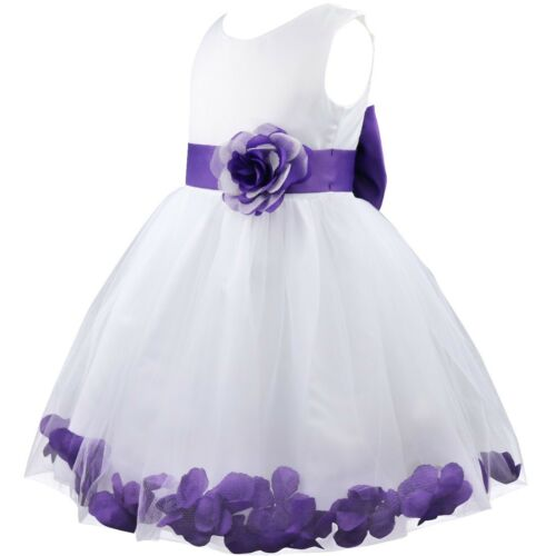 Flower Girl Princess Dress Kid Party Wedding Pageant Formal Petal Tulle Dresses