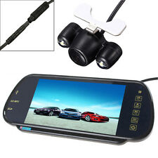 """7"""" MP5 Bluetooth Car Rearview Mirror Monitor+ 2 LEDs Night Vision Reverse Camera"""