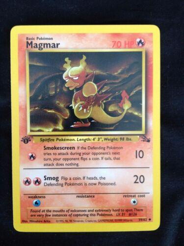 Pokemon Uncommon 1st Ed  Magmar Non-Holo Fossil Set EX//NM