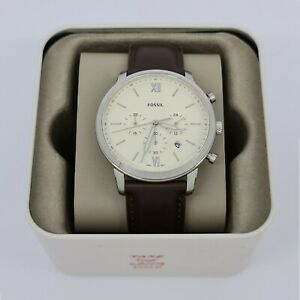 Fossil-FS5380-Neutra-Chronograph-Cream-Dial-Brown-Leather-44mm-Men-039-s-Watch