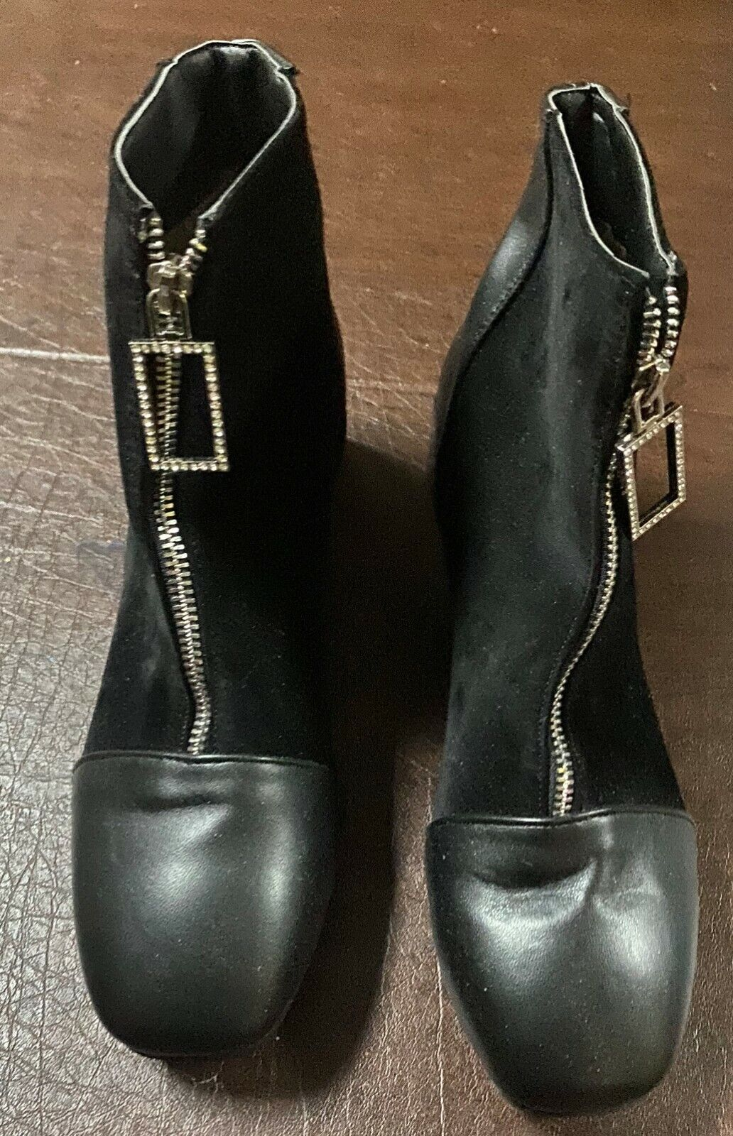 New Womens Jingpin Black Velour/Leather Rhinestone Pull Chunk Heel Boots 9M E 41
