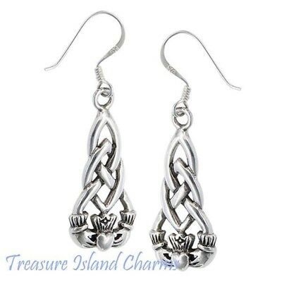 Celtic Endless Knot .925 Solid Sterling Silver French Wire Hook Dangle Earrings