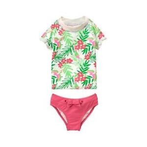 a089ff3748 Details about NWT Janie and Jack Copacabana Blooms Green Tropical Rash  Guard Swimsuit 6 7 8 10