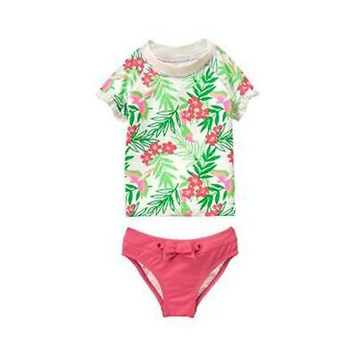 NWT Janie and Jack Copacabana Blooms Green Tropical Rash Guard Swimsuit Size 7