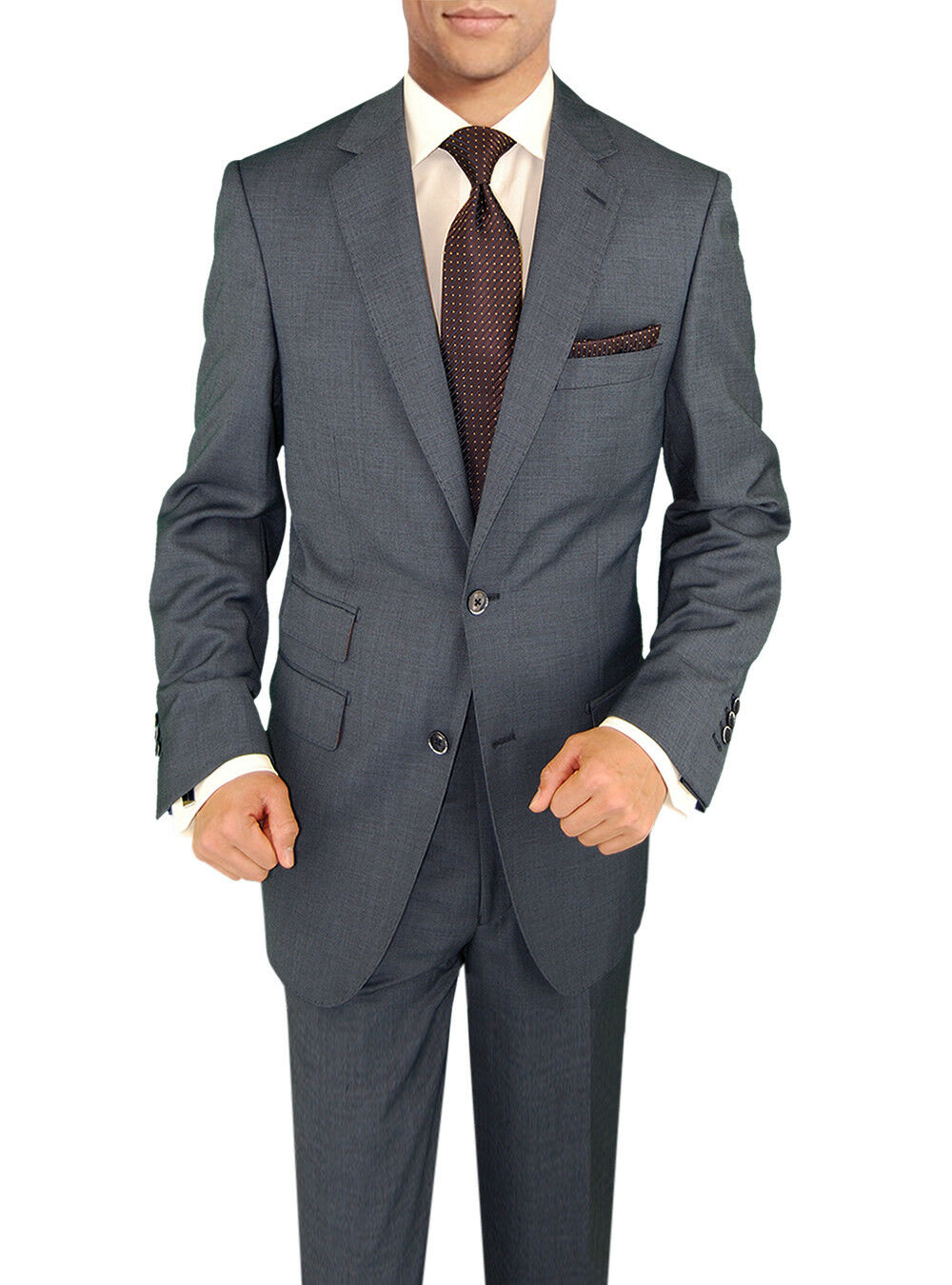 Signature Italian Wool Silk Mens Suit French bluee
