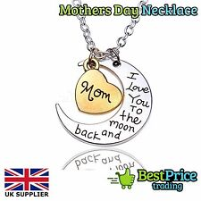 I Love You MUM To The Moon And Back Necklace Pendant Mom Mother Stepmother Mummy