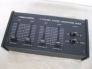 Realistic Vintage 4 Channel Stereo Microphone Mic Mixer 32-1105A