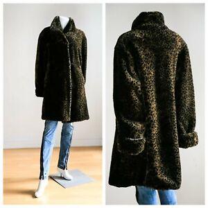 Coat Long Print Fur Faux Animal Hf4q4