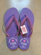 Victoria Secret Flip Flops PINK Purple Beach Sandals S Made With Love Shoes 5 6