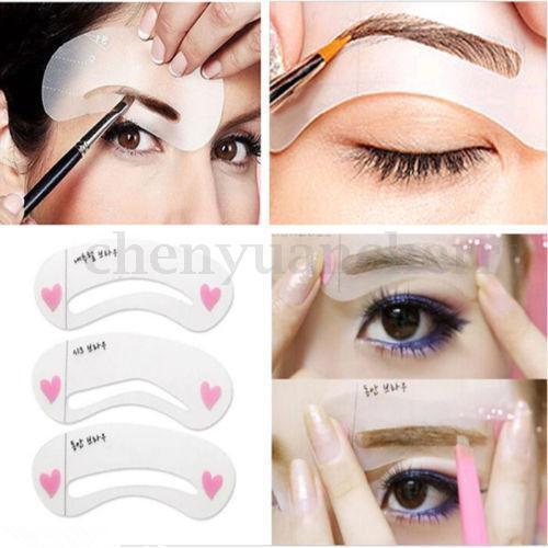 3Pcs/Set Eyebrow Grooming Stencil Kit Template Makeup Shaping Beauty DIY Tool