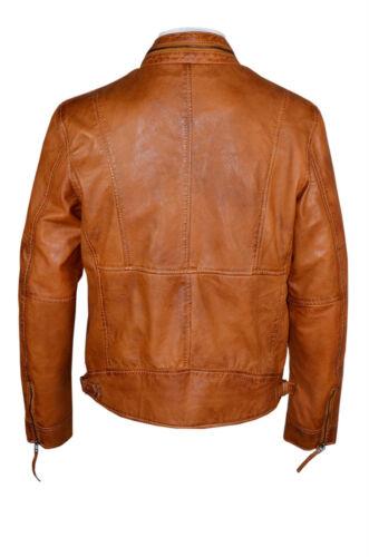 Men 9056 Classic Style TAN Zip Collar Designer Wax Casual Soft Leather Jacket