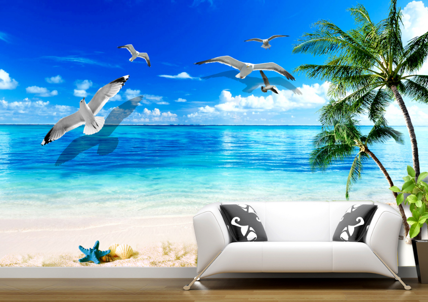 3D Beach Bird 657 Wallpaper Murals Wall Print Wallpaper Mural AJ WALL AU Lemon