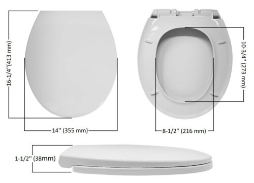 Libra Heavy Duty Round Front Soft Close Toilet Seat Cover Push to Quick Release