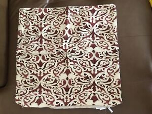 Pottery Barn Red Tan Burgundy Pillowcase Sham Cover