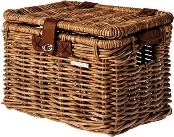 Cesta de bicicleta Basil cesta de mimbre con tapa Denton naturaleza marrón