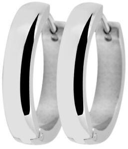 16mm Ohrringe, 4mm breite Creolen aus Edelstahl in Silber, Schmuck Ohrschmuck