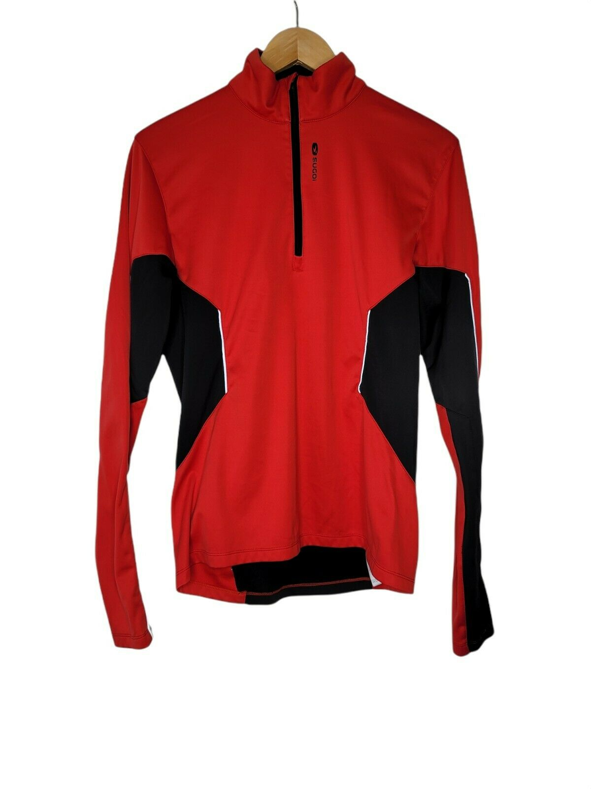 SUGOI women's athletic running Cycling 1/4 Zip Pullover Arm Pocket Lined Top Md