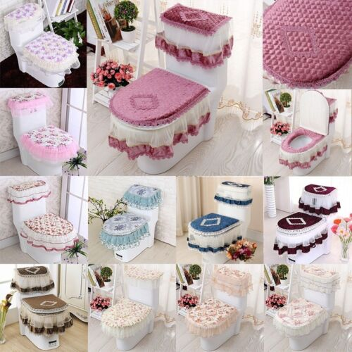 3 Pcs/Set Lace Printed Toilet Mat (Water Tank Cover+Toilet Cover Seat+Toilet)