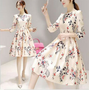 4c236f85ad36 Fashion Women Girls Summer Dress A-Line Dress 3 4 Sleeve Floral ...