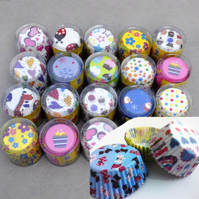 100pcs Random Colorful Paper Cupcake Liner Case Muffin Dessert Baking Cake Cup