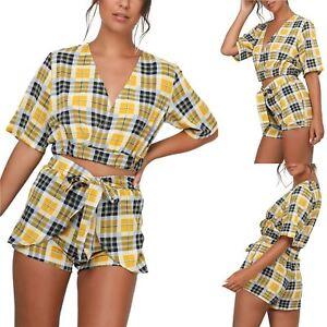 Womens-Short-Sleeve-Tartan-Stipes-Deep-V-Plunge-Top-Tie-Knot-Belted-Co-Ord-Set