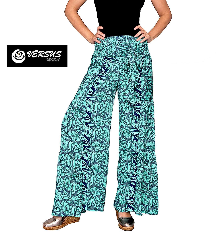 Pantaloni Larghi women Estate Leggeri green Mare -  Woman Wide Trousers VM2151