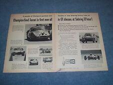 1963 Champion Spark Plugs Vintage 2pg Ad 12-Hours of Sebring Ferrari Fiat-Abarth
