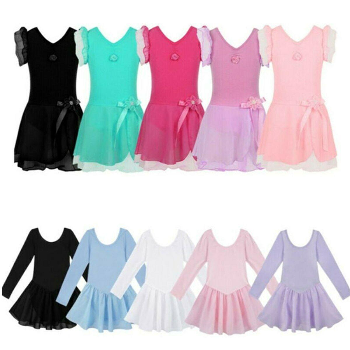 Girls Ballet Dance Dress Leotards Gymnastics Tutu Skirt Ballerina Dancewear