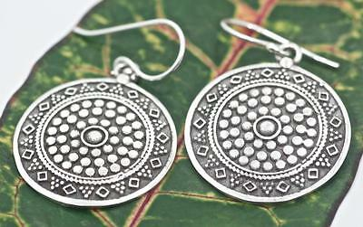 Handmade Round Bali Dot/Beaded Style Solid Sterling Silver .925 Dangle Earrings.