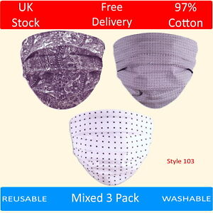 Pack of 3 Cotton Face Masks Washable Patterned Reusable Paisley Dots Grey White