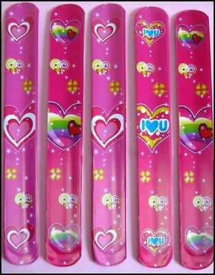 Bulk Lot x 20 Girls HEARTS Pink Slap Bands Party Favor Novelty Toy Free Post