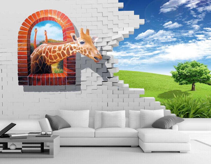 3D greenes Gras, Giraffen 388 Fototapeten Wandbild Fototapete BildTapete Familie