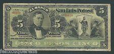 F.C. MEJICO MEXICO , BANCO DE SAN LUIS POTOSI , 5 PESOS 1913 , B/C ( F ) , S399c