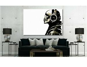 Dj Skull Banksy Canvas Wall Art Home
