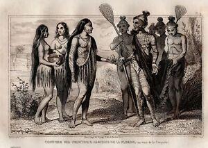 Amerique-Costumes-indien-Floride-Miami-Gravure-originale-XIXeme