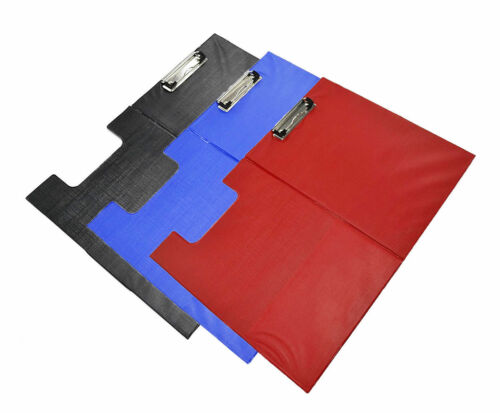 A4 FOLDABLE Clipboard Black, Blue, Red Office IDEAL FOR SCHOOL/COLLEGE/ UNI UK
