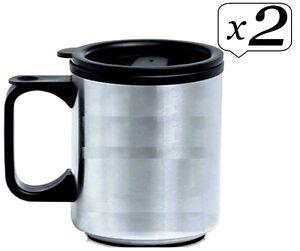 a9ee195f347 2x Home Travel Mug Reusable Plastic Coffee Cup Double Wall Tea ...