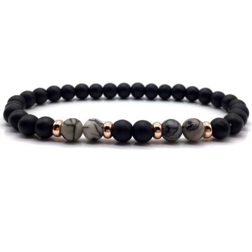 Fashion Matte Onyx Bracelet Men Women Simple 6mm Stone Bead Charm Bracelets Gift