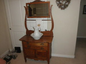 Antique Oak Washstand With Beveled Mirror Portland Or