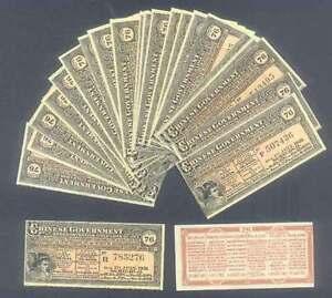 TEN-10-CHINA-BOND-COUPONS-1913-GOLD-LOAN-in-GERMAN-ENGLISH-FRENCH-RUSSIAN-UNC
