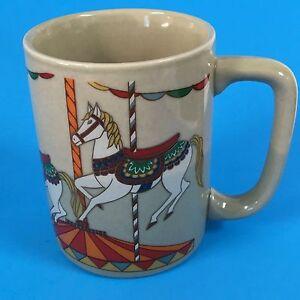 Horses-Carousel-Pony-10-Oz-Coffee-Mug-Tea-Cup-Vtg-Gold-Otagiri-Japan-Colorful